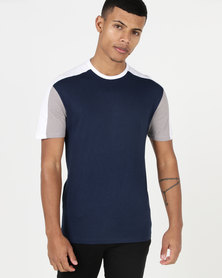 New Look Colour Block Muscle Fit T-Shirt Navy