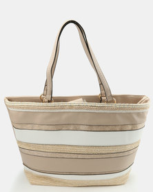 New Look Pretty Stripe Shopper Mink