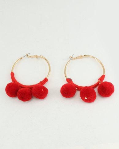 New Look Pom Pom Hoop Earrings Bright Red