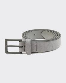 New Look Faux Suede Belt Grey