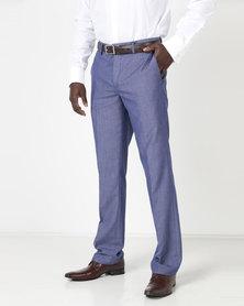 JCrew Birdseye Fancy Flat Front Trousers Blue