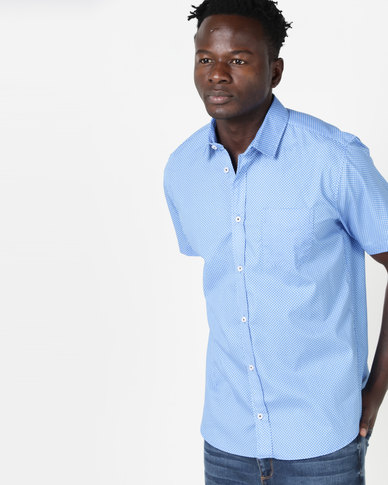 JCrew Short Sleeve Printed Shirt Blue
