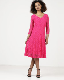 Queenspark Classic Lace Fit & Flare Knit Dress Fuschia