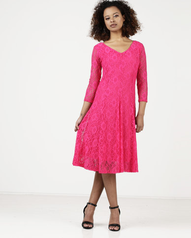 d8304d358224 Queenspark Classic Lace Fit & Flare Knit Dress Fuschia | Zando