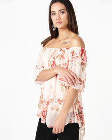 Queenspark Girl With Pearl Necklace Woven Blouse Pink