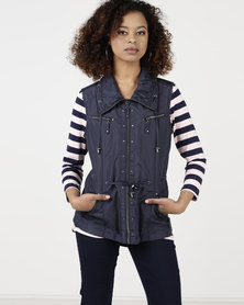 Queenspark Sleveless Zip Through Woven Gilet Jacket Navy