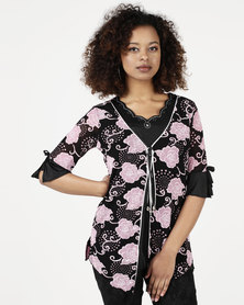 Queenspark Plunging Rose Knit Top Pink