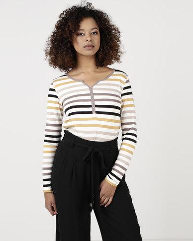 cath.nic By Queenspark Striped Henley Neckline Knit Top Mustard