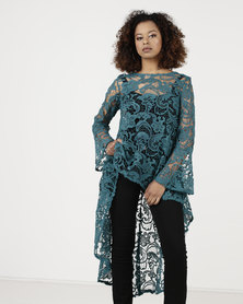 cath.nic By Queenspark Hi Lo Lace Woven Dress Teal