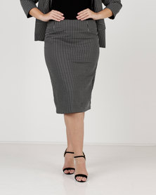 Queenspark Plus Woven Pencil Skirt Black/White