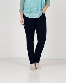 Queenspark Plus Pocket Beading And Pearl Trim Denim Jeans Indigo
