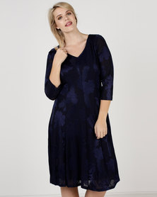 Queenspark Plus Rose Fancy Fit And Flare Knit Dress Navy