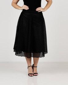 Queenspark Plus Hoop Glamour Woven Skirt Black