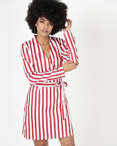 Utopia Stripe Wrap Dress Red/White
