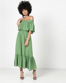 Utopia Bardot Maxi Dress Green