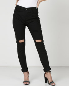 Utopia Skinny Leg Jeans With Knee Slits Black