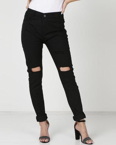 Utopia Skinny Leg Jeans With Knee Slits Black