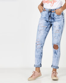 Utopia Acid Wash Ripped Skinny Jeans Blue