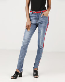 Utopia Skinny Leg Jeans With Side Stripe Blue