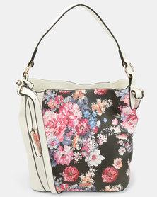 Miss Black Aigner With Multi Flower Handbag White