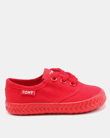 Tomy Takkies Infants Original Lace Up Sneakers Red