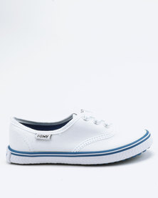 Tomy Takkies Boys Tomy With Blue Foxing Stripe Sneakers White