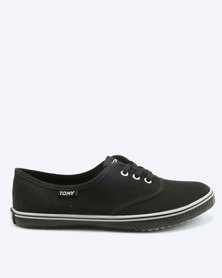 Tomy Takkies Youths Tomy With Grey Foxing Stripe Sneakers Black