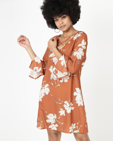 Revenge Floral Print Long Sleeve Dress Rust