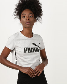 Puma Sportstyle Core Tape Logo Cropped Tee Light Gray Heather