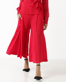 Judith Atelier Violet Ruffle Trousers Lipstick Red