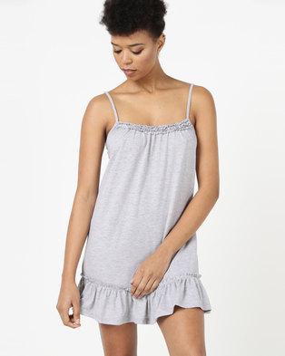 Lila Rose Frilly Knit Chemise Grey