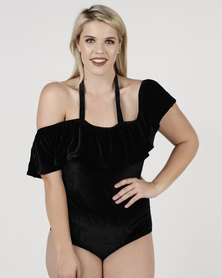 SALT Velvet Off Shoulder One Piece Black