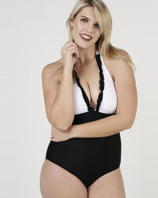 9f032a56b519d SALT 2-Tone Ruffle Detail One Piece Black