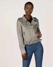 Sissy Boy Bling Biker Jacket Grey