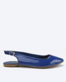 Utopia X Whistles Patent Slingback Pumps Navy