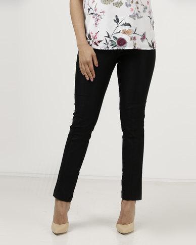 Utopia Skinny Leg With Pintuck Trousers Detail Black