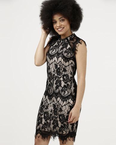 Utopia Lace Bodycon Dress Black
