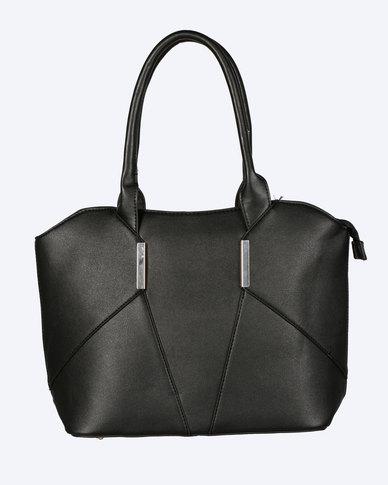 Blackcherry Bag Panel Detail Handbag Black