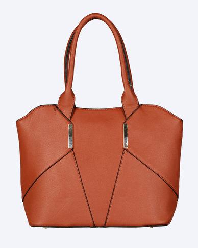 Blackcherry Bag Panel Detail Handbag Brown