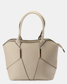 Blackcherry Bag Panel Detail Handbag Grey