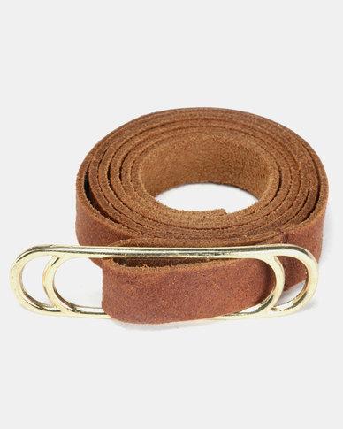 non-european® Slider Belt Dark Tan & Gold