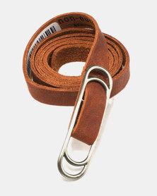 non-european® Slider Belt Dark Tan & Brushed Antique Nickel
