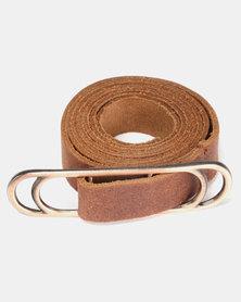 non-european® Slider Belt Dark Tan & Brushed Antique Copper