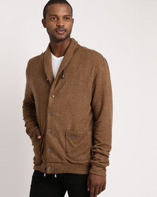 non-european® Shawl Collar Cardigan Bark & Gunmetal