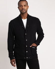 non-european® Shawl Collar Cardigan Black & Antique Nickel