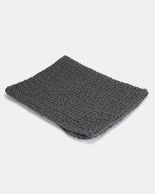 The Duck Egg Company Cotton Crochet Bathmat Black