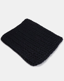 The Duck Egg Company Cotton Crochet Bathmat Blue