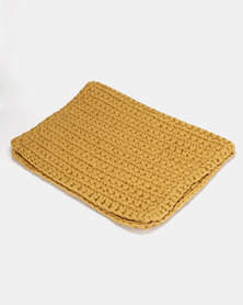 The Duck Egg Company Cotton Crochet Bathmat Yellow