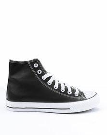 Soviet Viper Basic PU Hi Cut Lace Up Sneakers Black