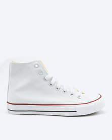 Soviet Viper Basic PU Hi Cut Lace Up Sneakers White